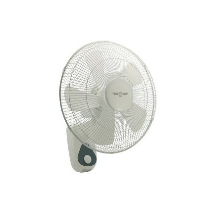 [2] x Hydro Axis Oscillating Wall Mount Fan - 400MM | 3 Speed | Pull Cord Contro