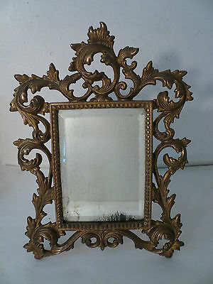 Antique Vtg Ornate Beveled Glass Vanity Brass Mirror 11 1/2""