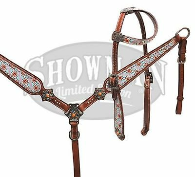 Showman LIMITED EDITION Navajo Design One Ear Headstall and Breast Collar Set!