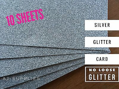 Silver Glitter CardStock (A4) High Quality Smooth No Loose Glitter Paper 10