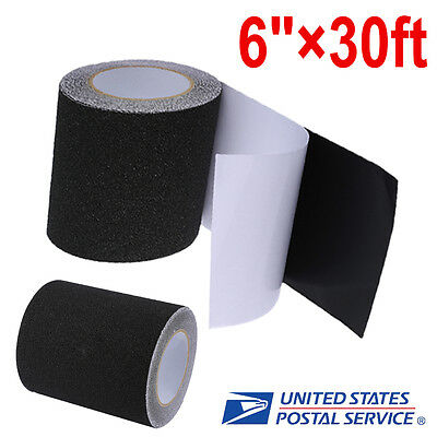 "6""x30' Safety Non Skid Grit Grip Tape Anti Slip Roll Black Sticker Adhesive"