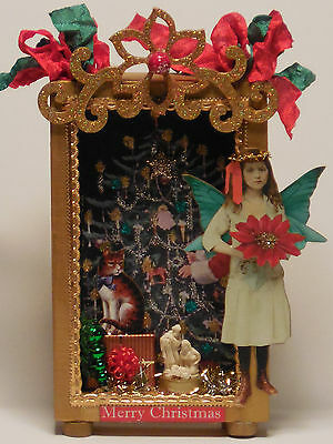 altered art Christmas mixed media paper fairy pixie miniatures diorama wood