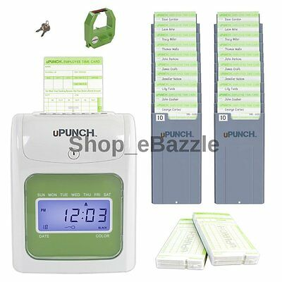 Electronic Time Clock For Employees Payroll Machine Punch In System Card Office