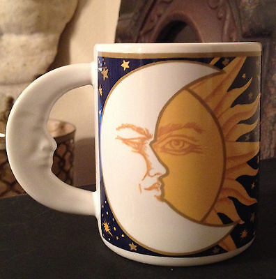 VTG VITROMASTER GALAXY Sun & Moon Mug Cup '93 Design Porcelain Navy Yellow White