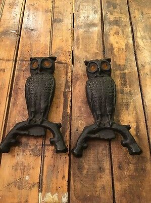 Vintage Pair Cast Iron Owl Andirons with Glass Amber Eyes