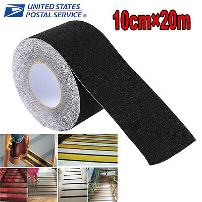 "US 4""x65.6' Skid Resistance Anti Slip Tape Black Roll Sticker Non-Slip Adhesive"