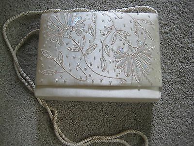 NYTLITES Tan Beaded Satin Evening Purse/Clutch-Formal, Wedding, Special Occasion