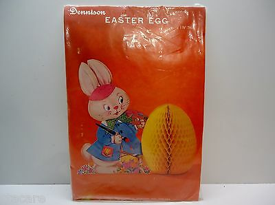 Vintage Dennison Honeycomb style BUNNY RABBIT WITH EGG in package