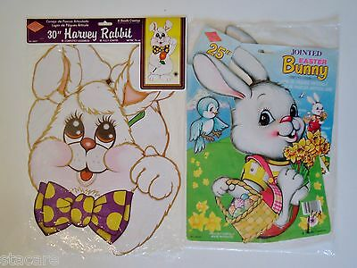 2 Vintage BEISTLE Easter Bunny Rabbit Diecut Jointed Decorations UNUSED