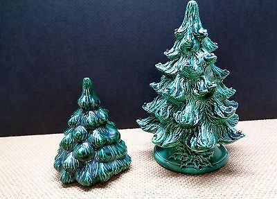 2 Vintage Tabletop Green Ceramic Christmas Trees 4 & 7 inch Villages Decoration