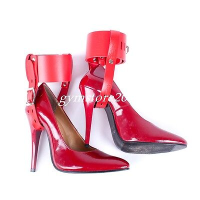 Lockable Leather Ankle Belts Restraint cuffs Fixed to High Heel Shoes straps New