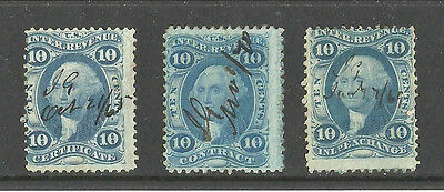 1862-71 U.S.10c Revnue Stamps SC#33, 34, 36 Hand Scriped Canclled  (USED)