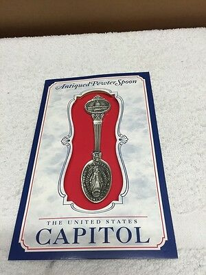 United States Capital Solid Pewter Spoon Mounted On Card