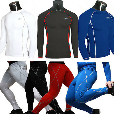 Mens Compression Baselayer Athletic Sports Long Sleeve T-Shirt Top Legging Pant