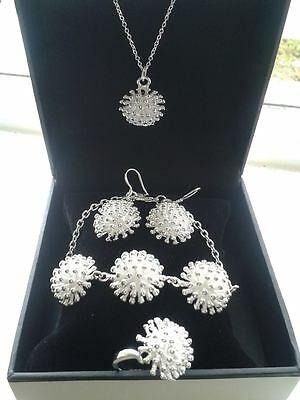 Ladies Fashion Bracelet, Necklace, Earrings & Ring Set in Box- 925 Stamped