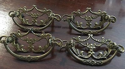 "Antique Victorian Brass Drawer Pulls 4 3.5"" Ornate"