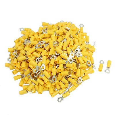 Yellow 6mm Ring Terminal Connector 100 Pack Marine Automotive 12V Crimp
