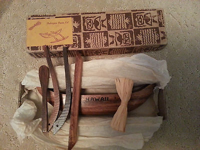 Vintage Hawaiian Outrigger Canoe Kit- Lanakila Crafts -Wood- In Original Box