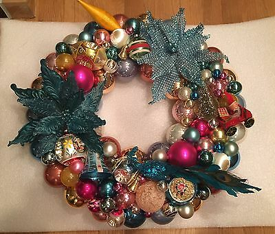 """24"""" HANDMADE Vintage Christmas Indent Ornaments Turquoise Silver Pink WREATH"""