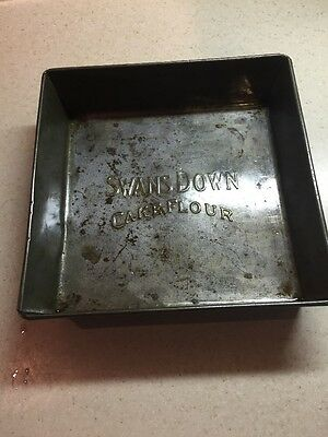 "Vintage Advertising Square SWANS DOWN CAKE FLOUR Baking Pan, 8"" x 8"" EKCO 630"