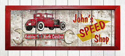 Personalized Vintage Race Speed Shop Coupe Car Garage Auto Tire Gas & Oil Sign