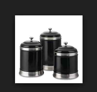 New Williams Sonoma 3 Piece Black Canister Set Ceramic & Stainless Steel