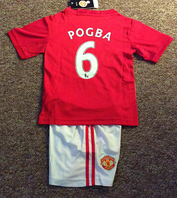 2017 Kids Soccer Jersey #6 Paul Pogba Manchester United Home 1 Sets Top &shorts