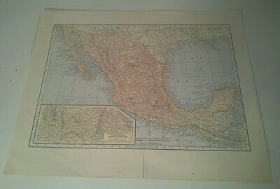 VINTAGE 1904 Map of Mexico by Hammond 8 x 11