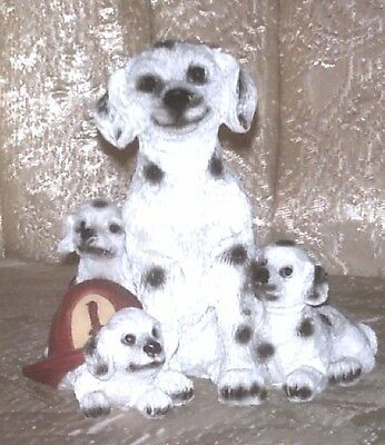 Dalmatian Dog With Puppies & Firefighters Helmet Figurine~ By Youngs
