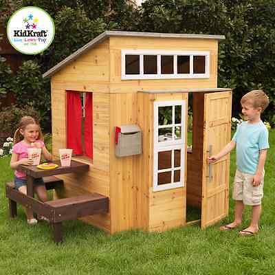 Kidkraft Modern Playhouse Play Cubby House W/ Picnic Table Bench Seat Outdoor
