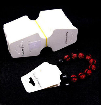 White Paper Jewelry Bracelet Necklace Hanging Holder Display Hang Cards