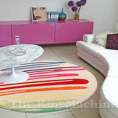 DIZZY KIDS RAINBOW OFF WHITE THICK ACRYLIC FUN FLOOR RUG 120x120cm Round **NEW**