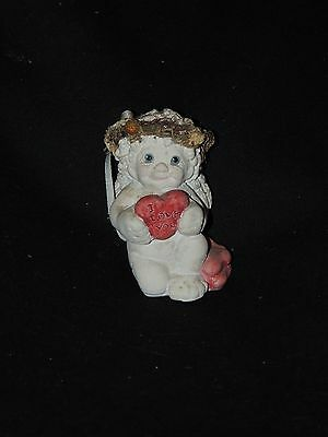 """Dreamsicles On Bended Knee - cherub holding heart """"I Love You"""""""