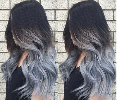 Brazilian 100% Remy Human Hair Wigs Ombre Grey Wavy Lace Front Full Lace Wigs