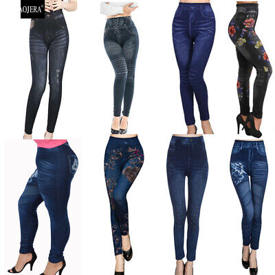 Woman Plus Size Stretchy Printed Denim Look Jegging 1X 2X 3X Skinny Legging