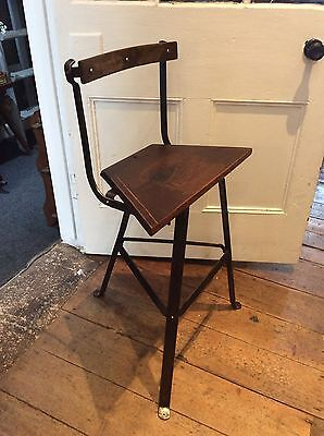 Antique Wrought Iron Industrial Work Stool Loft Shabby Chic Cool Vintage