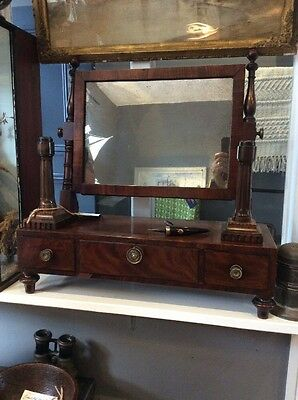 Regency Period Mahogany Toilet Mirror Distressed Mercury Plate Nice!