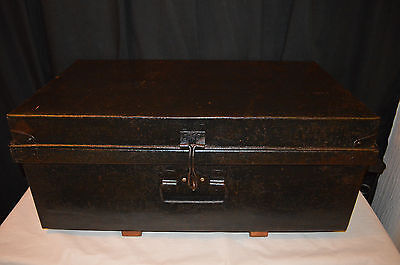 Vintage trunk chest steel storage Box Industrial coffee Table