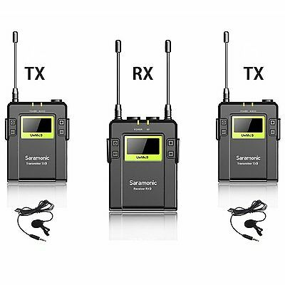 Saramonic RX9+TX9*2  UHF Wireless 96 Channel VHF Lavalier Mic Microphone System