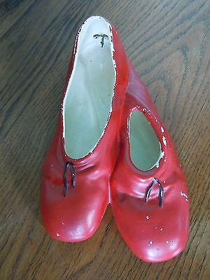 Retro/vintage Brentleigh Red Pottery Ballet Shoes/wall Hanging/decoration