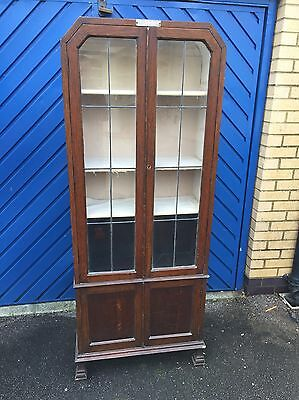 Edwardian Solid oak bookcase With Glass Doors
