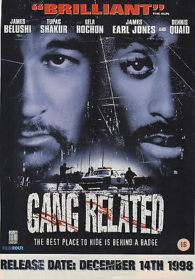 A4 Advert for the Video Release of Gang Related James Belushi Tupac Shakur