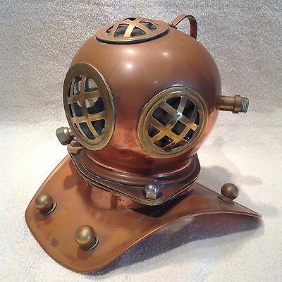 VINTAGE Replica COPPER & BRASS Deep Sea DIVER HELMET Desk Top DISPLAY Maritime