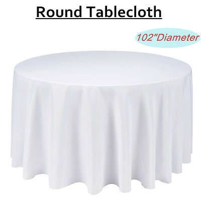 2 X Tablecloth Round Table Cloth Party Wedding Banquet White 260cm Diameter