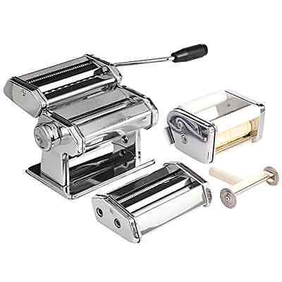 VonShef 3 in 1 Stainless Steel Pasta Maker with 3 Cut Press Blade Settings and T