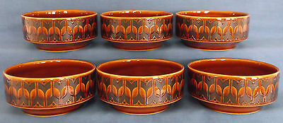 Six Vintage Retro 1974 Hornsea Heirloom Autumn Brown Soup Cereal Bowls