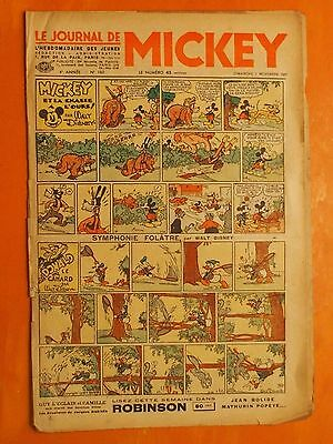 Le journal de Mickey N° 160 du 07/11/1937-Walt Disney.éditions Opera Mundi