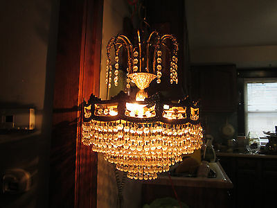 Vintage 6 Tier GLASS Crystal Chandelier ORNATE BRASS MID CENTURY BEAUTY!!