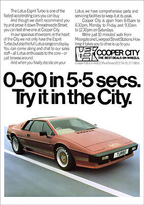 Lotus Esprit Turbo Retro A3 Poster Print From Classic 80's Advert