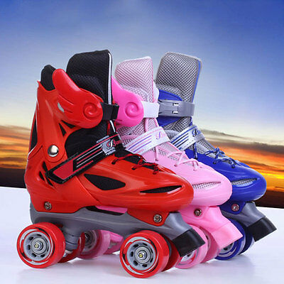 New Kids Youth Double Line Quad Boys Girls Adjustable Size Roller Skates Shoes